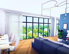 Interior apartment studio pack 3D asset low-poly