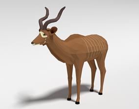 3D asset Low Poly Cartoon Greater Kudu Antelope
