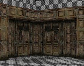3D asset Wooden Arch Door 02