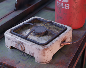 3D asset Small Old Gas Stove