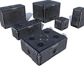 3D asset Sci Fi old grey-blue cargo crates