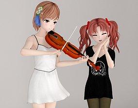 Misaka Mikoto and Kuroko Shirai pose 02 3D model