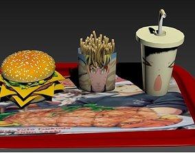 Fast food Manga style 3D asset