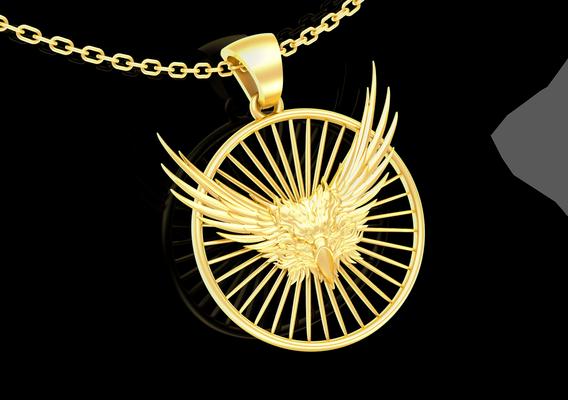 Phoenix pendant jewelry Gold 3D print model