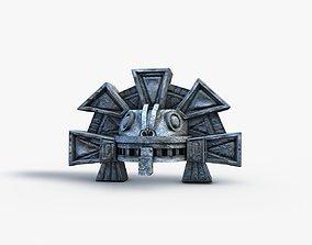 Aztec stone head snake detail 3D model realtime