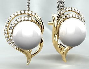 Original Earring with Diamond Pearl 3D printable model 2