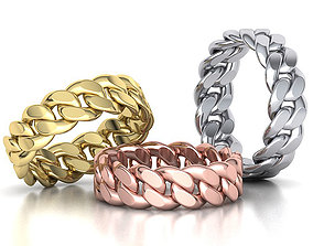 3D printable model Cuban Link Chain Ring Stackble Ring 7mm