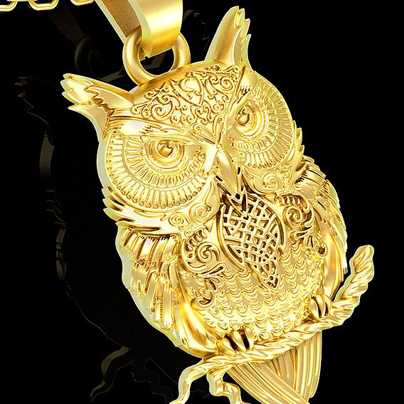 Owl pendant jewelry gold necklace medallion 3D print model