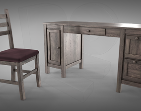 Desk and chair 3D model PBR