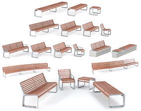 Mmcite Benches Portiqoa - Port 3D model