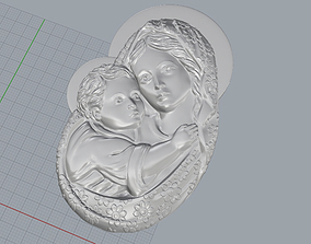 Mary with Child Medallion 3D print model relief