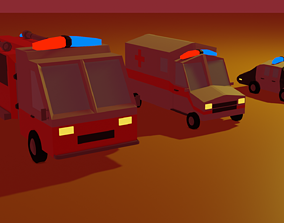 3D model Low poly emergency vehicles