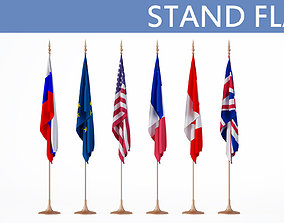 states 3D model Flags