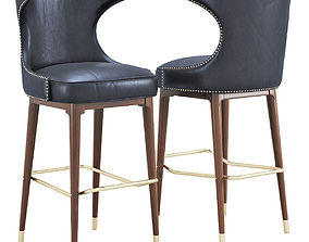 3D Mid Century Black Leather Bar Stool