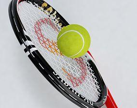Tennis Racket and Ball 03 3D model