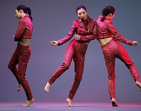 3D asset Girl Dancing in Red Leather Jacket and Pants