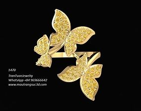 3D printable model 1470 Diamond Butterflys Ring