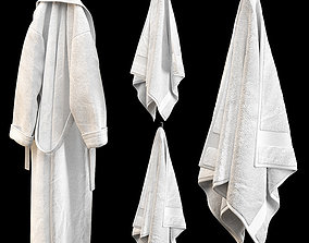 BATHROBE TOWELS WHITE 3D