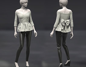 3D Female Top off-shoulders and pants