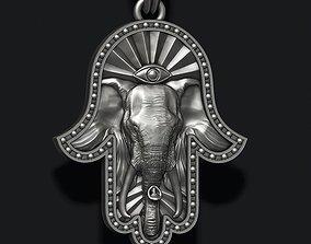 Hamsa elephant pendant 3D print model