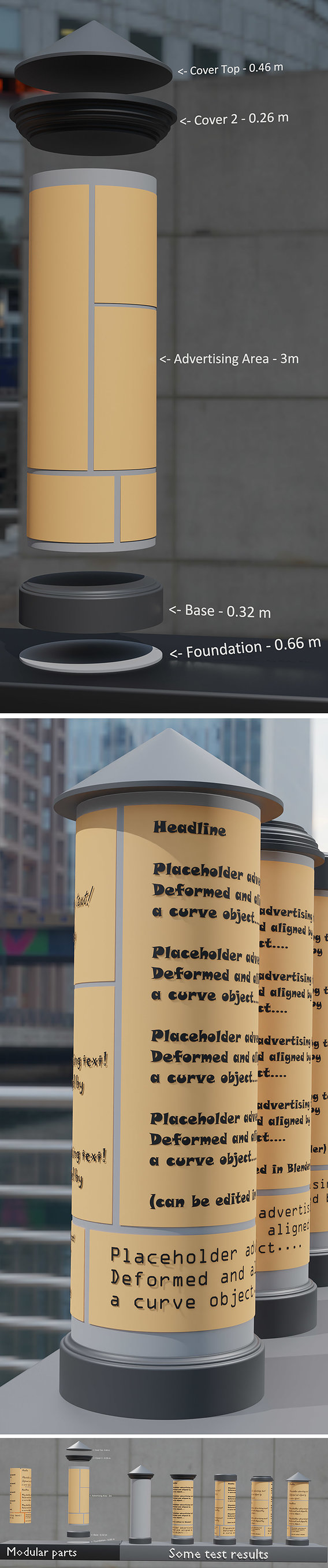 Classic Advertising Pillar High-Poly Version 3D model (Blender-2.90.1 Cycles)