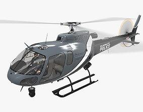 3D model game-ready AS-350 Oklahoma City Police Animated
