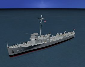 USS PC-744 Subchaser 3D model rigged