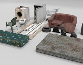 Abandoned Items Low poly model 3D asset
