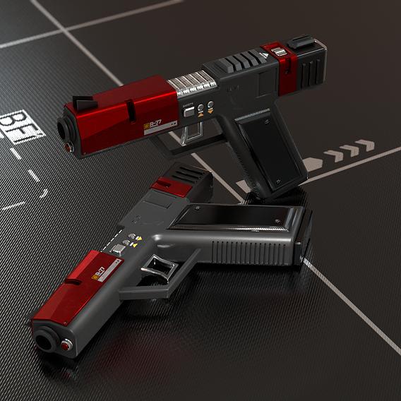 Sci Fi Gun Pistol Low-poly 3D model