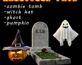3D model Halloween pack 4 items grave