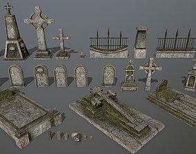tombstone set 02 3D model