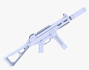 3D asset UMP 45 Submachine Gun Supressed 2