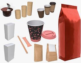 Coffee pack cup lid paper packaging sugar sachet foil 3D 1
