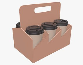 3D model Recycled paper coffee cup lid and holder 01