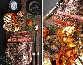 3D model Pork steak with grilled vegetables