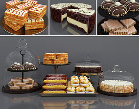 Cake bar Chocolate and Vanilla cake 3D