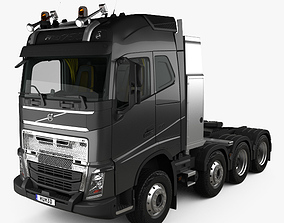 3D Volvo FH Globetrotter Cab Tractor Truck 4-axle HQ 1