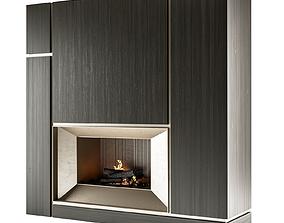 Modern fireplace heating 3D