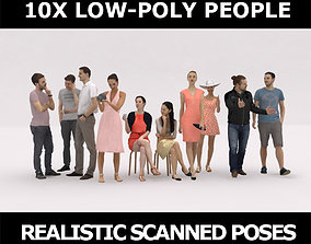 10x LOW POLY CASUAL PEOPLE VOL02 CROWD 3D model
