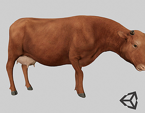 3D asset animated Brown Cow