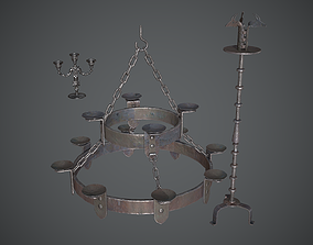 3D model VR / AR ready Chandelier Medieval
