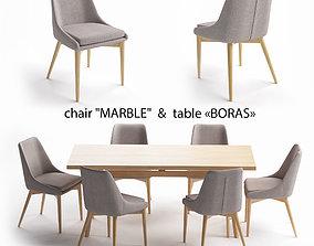 3D model Table set table Boras chair Marble