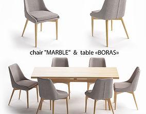 Table set table Boras chair Marble 3D