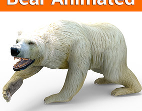 animated 3D Model White Bear Rigged and animated