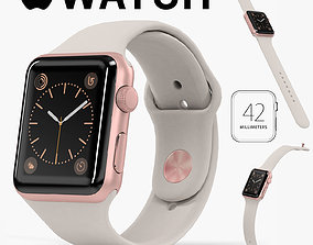 Apple Watch Rose Gold Aluminum Case Stone Sport 3D model