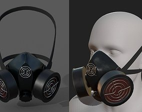 Gas mask protection isolated equipment armor 3D asset