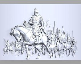 Mongolian medieval warriors bas relief 3D print model