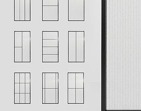 4 Glass partition door Set 9 partition models 3D
