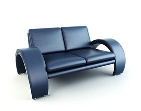 Modern Smooth Blue Couch 3D model