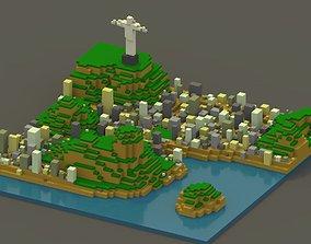 3D asset VR / AR ready Rio de Janeiro Voxel Cityscape